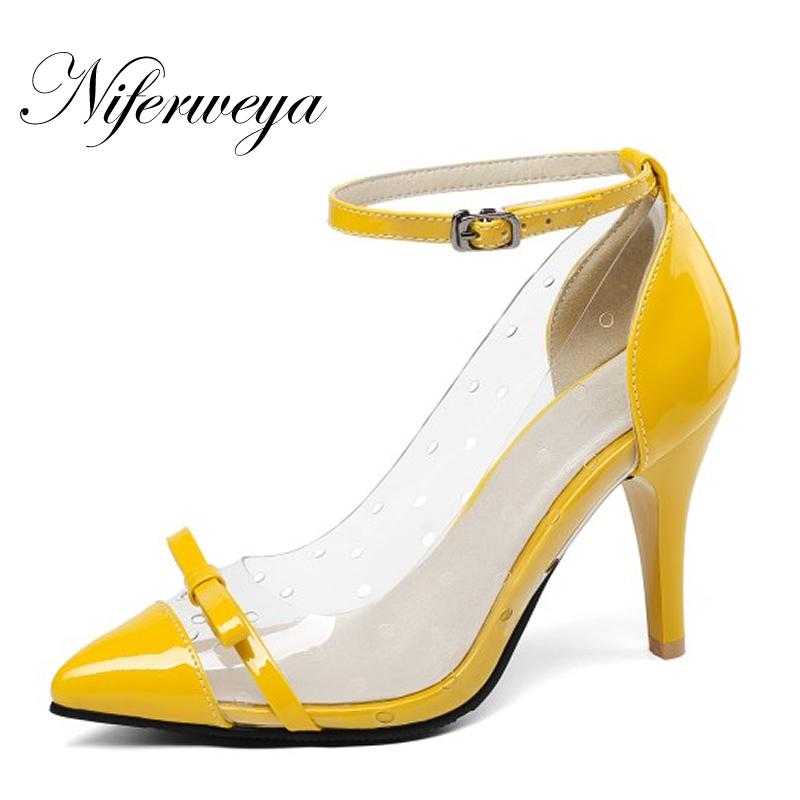 Heel Women Shoes Pointed-Toe Sexy Big-Size Spring/autumn New No Butterfly-Knot Zapatos