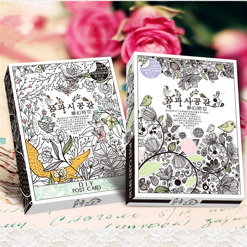 32 Sheets/Set Secret Garden Coloring Card Retro Postcards DIY Post Cards Painting Drawing Cards Christmas Gift 3sets lot retro time literature and art tape christmas greeting cards postcards set gift card post card
