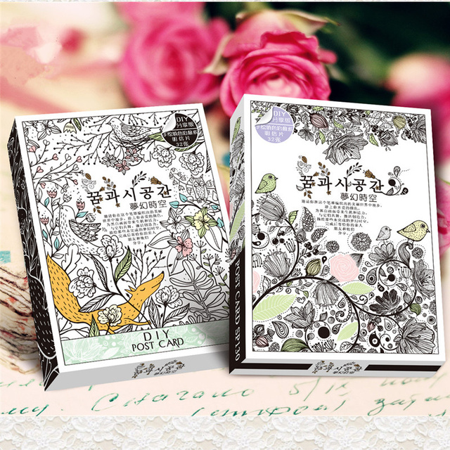 32 sheetsset secret garden coloring card retro postcards diy post cards painting drawing cards