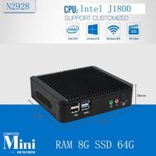 Смарт-Мини-ПК celeron J1800 Quad Core HD Графический Dual WIFI 8 Г RAM 64 Г SSD Черный Алюминиевый Сплав