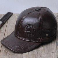 Men Autumn Plus Size 100% Cowhide caps male winter thick 100% Genuine Leather hats man Protection ear cap