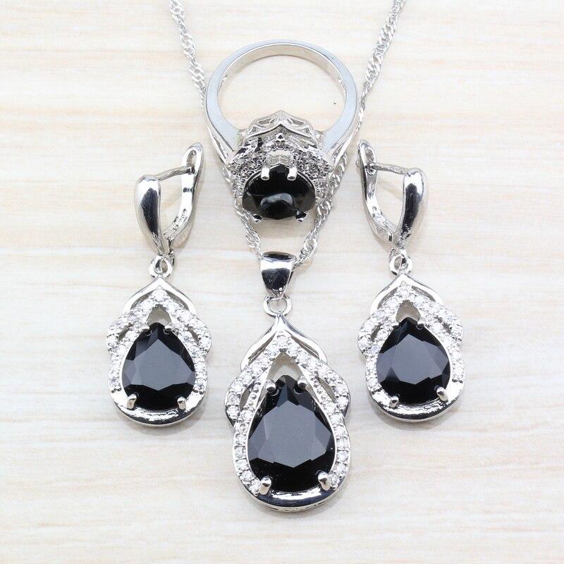 Costume Jewelry-Sets Zircon Drop-Accessories Dangle-Earrings 925-Silver Women Water And