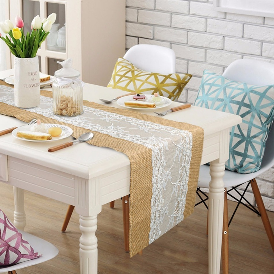 Luxury Burlap And Lace Table Runner Wedding Decoration Modern Jute Lace  Table Runners Vintage Tablecloth Home Textile 30x275cm