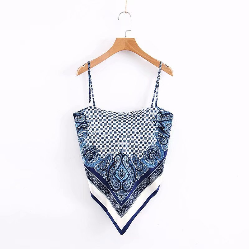 2019 New Women Vintage Paisley Print Spaghetti Strap Sexy Chic Camis Tank Ladies Summer Backless Bowknot Sling Tops LS3866
