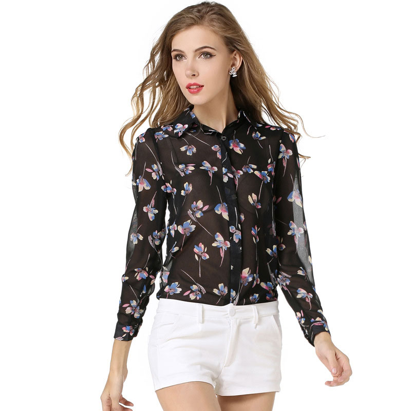 buy 2016 summer chiffon shirt women long sleeve designer blouses thin. Black Bedroom Furniture Sets. Home Design Ideas