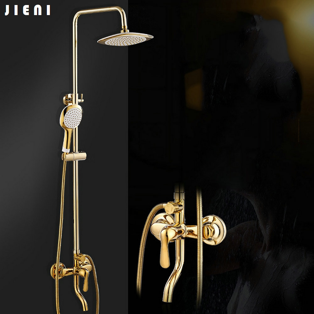 Golden Chrome Brass Finish Bathroom Shower Set Rain Shower Head Bath Shower Mixer with Hand Shower бумажник golden head портмоне 3331501