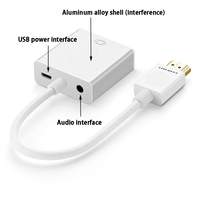 1080P HDMI To VGA Cable Adapter Digital To Analog Video Converter With USB Power Supply Audio
