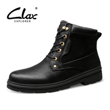 CLAX Men Work Boot High Top Winter Boot Male Genuine Leather Safety Shoe Snow Shoe Plush Fur Warm Leather Shoe plus size camp safety golden top plus