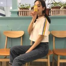 3c4a00996 Nuevo T camisa las mujeres Arco Iris rayas Tops Harajuku camiseta 2019 de  manga corta de