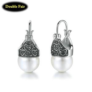 Hoop Earrings Women Round Inmitation Pearl Earrings For Women Christmas Present Retro Ear Drops Jewelry DWE700M