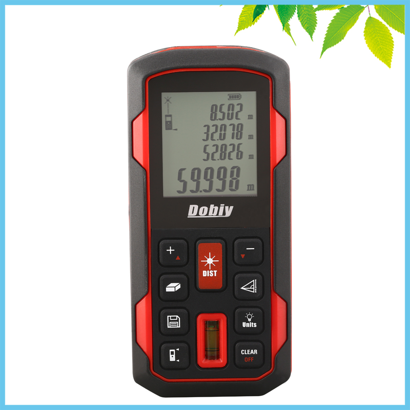 60m LCD Digital Laser Distance Meter Pythagoras Bubble Level Range Finder Tape Measure Area Volume Distance Tester Tool FT Inch digital laser distance meter bigger bubble level tool rangefinder range finder tape measure 80m area volume angle tester