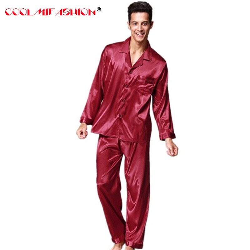 Men Sleepwear Pyjama Home-Clothing Silk Winter Autumn Spring Hombre-Set Homme Pure-Color