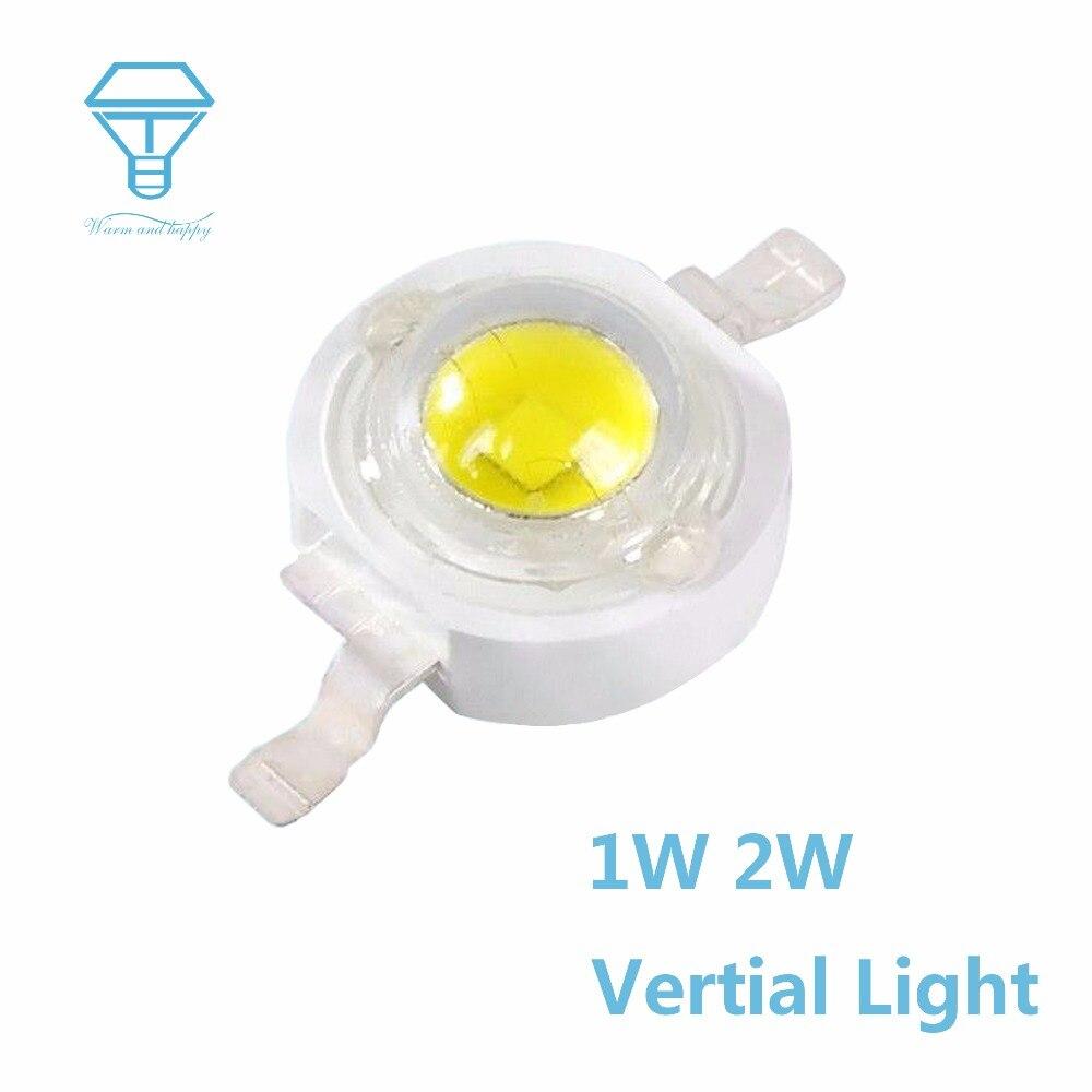 100pcs A Lot Vertical Light 90 Degrees Led Light 1W 2W 400mA 500mA 7000K LED Light-Emitting LEDs Chip SpotLight Diodes Bulb