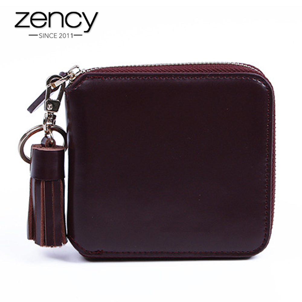 Zency Tassel Classic Women Small Wallet 100% Genuine Leather Ladies Girl Clutch Bag Coin Pocket Short Purse Female Card Holder contact s women wallet men fashion ladies short wallets genuine leather small wallet coin purse girl card holder clutch bag gift