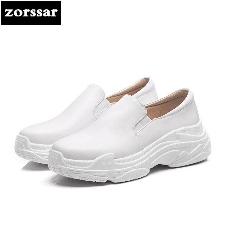 Moda Negro Zapatillas Planos Mocasines Mujer blanco Genuino Mujeres Vaca Zapatos {zorssar} Plana Alta Para Deporte Cuero Plataforma Casuales De Las Calidad dOnBqw