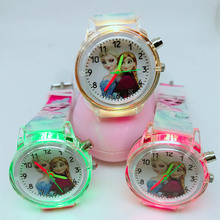 2019 hot style children's cartoon princess elsa color flashing printed silicone watch band electronic watch girl gift watch