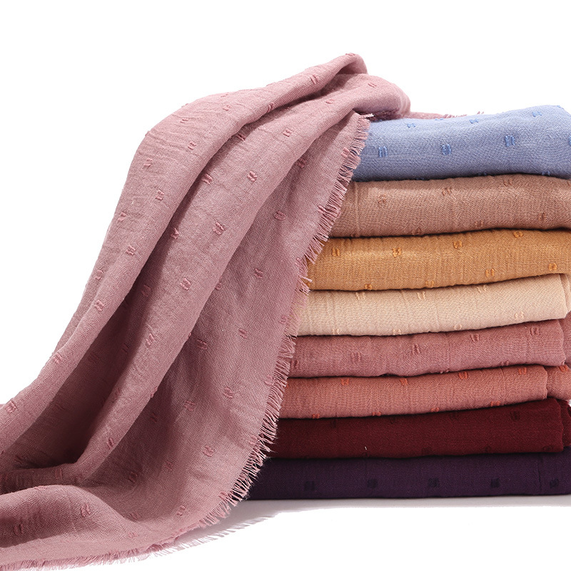 Wholesale 10pcs Fringe Scarf Female Cotton Linen Muslim Hijabs Islamic Headscarf Wrap Africa Headband Solid Color Shawl Pashmina