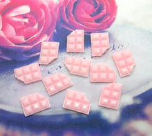 20Pcs Resin Pink Chocolate Cookies Crafts Flatback Cabochon Scrapbooking Decorations Fit Hair Clips Embellishments Beads Diy(China)
