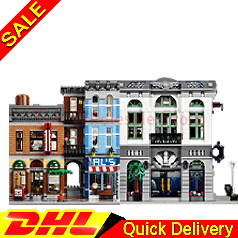 LEPIN 15001 Brick Bank + Lepin 15011 Detectives Office Model Building Street Sight Kits Blocks Bricks lepins Toy 10251 10197