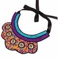 OMGALA Elegant Bohemia Bead Choker Necklace Big Rhinestone Lace Maxi Necklaces&Pendents Ribbon Chain Ethnic Jewelry For Women