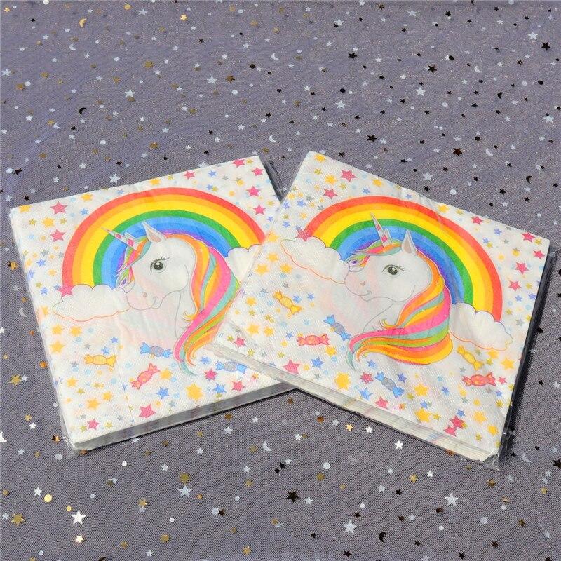 2018 Rainbow Unicorn Design Paper Napkins Cafe & Party Tissue Napkins Decoupage Decoration Paper 33cm*33cm 20pcs/pack/lot