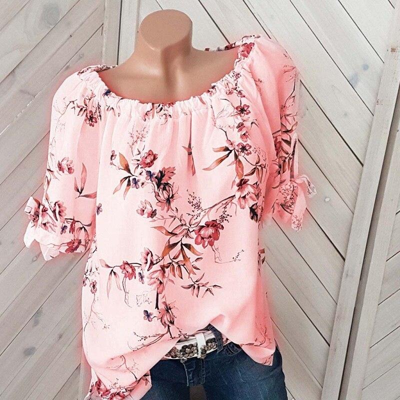 Large Size Women Spring Summer   Blouse     Shirts   Plus Size Slash Neck Tops Floral Print Sexy Off Shoulder Blusas Mujer De Moda