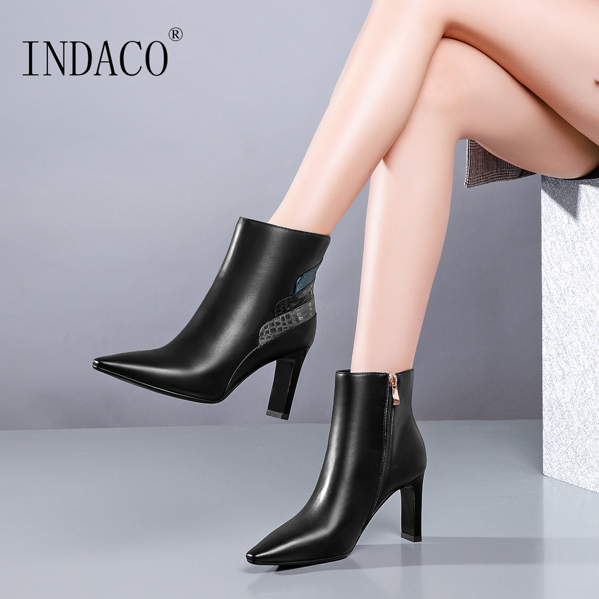 Ankle Boots for Women 2018 New Winter Boots Women Fashion Leather Boots Women Chaussures Femme 8cm цена