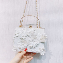 Angelatracy New Arrival 2019 Chinese Vintage Summer Pearl 3d Floral Lace Flower Fairy Dinner Golden Women Bag Handbag