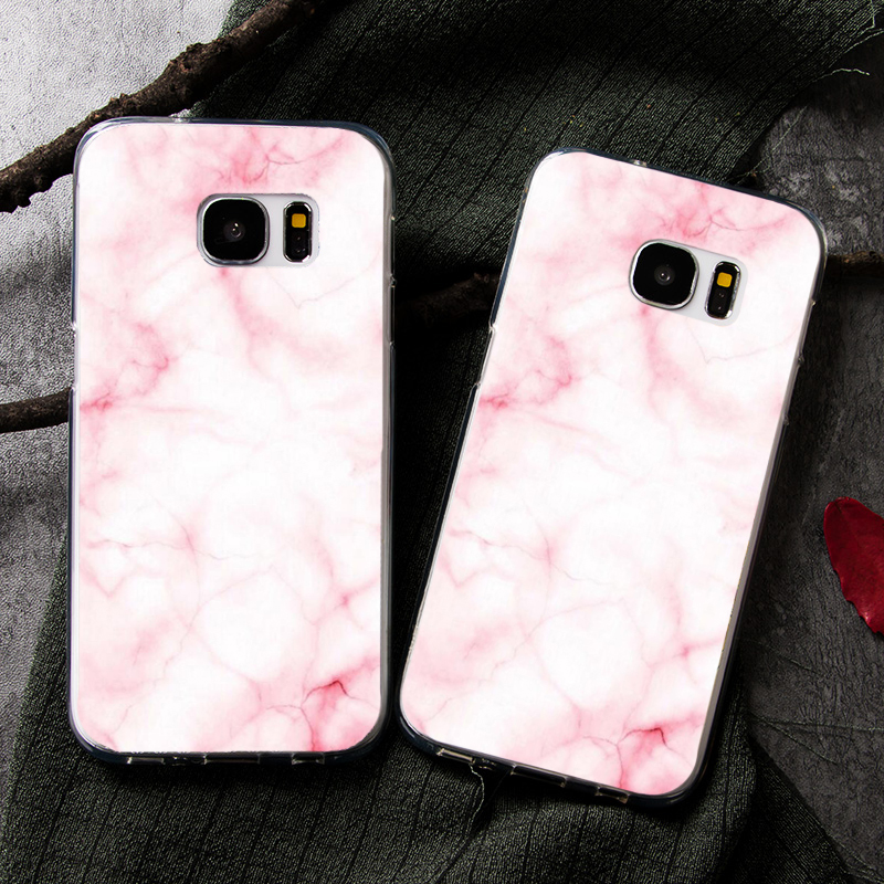 Pink White Granite Marble Cover Case For Samsung Galaxy S8