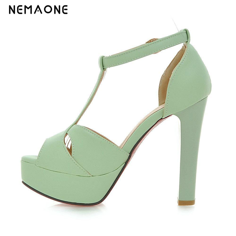 NEMAONE 2017 Concise Nude Suede High Heels Sandals Women Sequined Ankle Strap Summer Dress Shoes Woman Open Toe Sandals