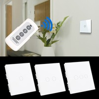 Crystal Glass Panel Touch Light Wall Switch 1/2/3 Gang With Remote Controller