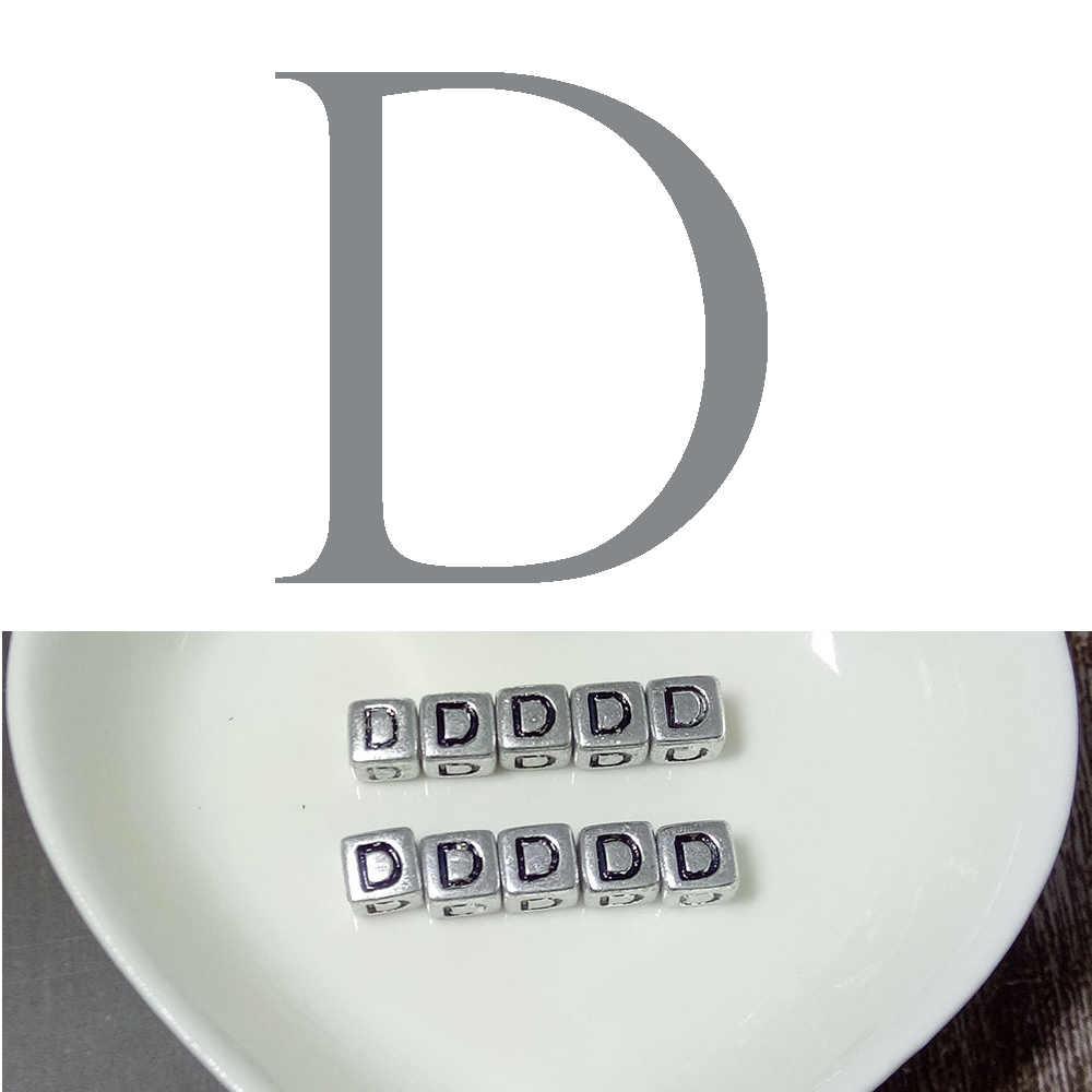 10 peças 6 milímetros Inglês Carta Beads Alfabeto Quadrado Prata Beads DIY Fazer Jóias Para Colar Pulseira Acessórios