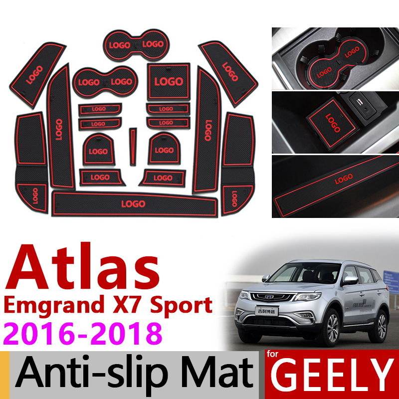 Anti-Slip Gate Slot Mat Rubber Coaster for <font><b>Geely</b></font> Atlas <font><b>Geely</b></font> <font><b>Emgrand</b></font> <font><b>X7</b></font> Sport 2016 2017 2018 <font><b>2019</b></font> NL-3 NL3 Accessories Stickers image