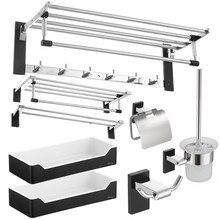 Аксессуары для ванной комнаты полированный серебряный держатель для зубных щеток металлический черный набор аксессуаров для ванной комнаты кольцо для полотенец Полка для ванной комнаты