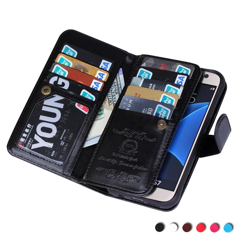 Цена за Роскошный чехол для Samsung Galaxy S4 5 6 7 Wallet Case 9 карт слот мобильного телефона случаях винтажные кожаные Чехол для S7 S6 Edge Plus