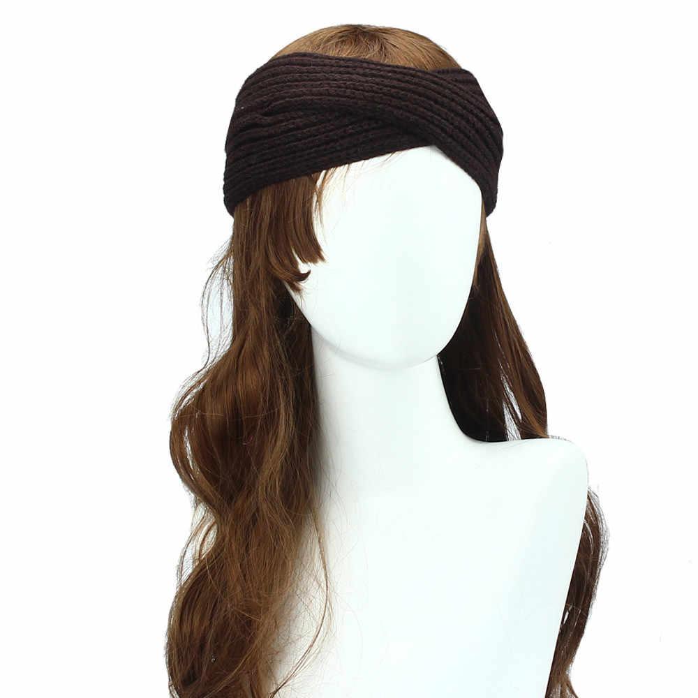 الشتاء محبوك تويست العصابة للنساء بنات أدفأ الأذن الصوف العمامة هيرباند حك ضمادة إكسسوارات الشعر العصابة # Z