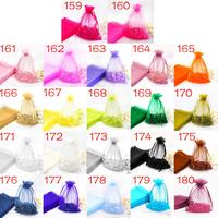 Free Shipping New 100Pcs Set 10cm 14cm Candy Pouch Bag Sheer Organza Party Wedding Favor Decoration