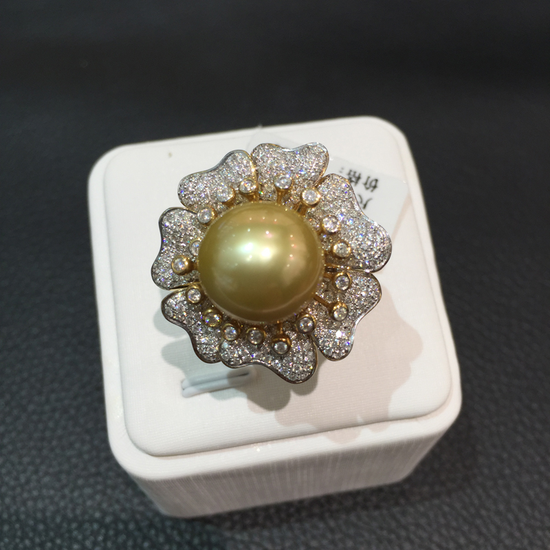 12.5-13MM natural gold pearl ring 18K gold with diamond flower ring big southsea pearl jewelry cocktail ring free shipping kcchstar 18k crystal ring with artificial diamond golden purple
