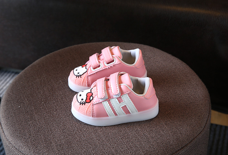 190aaa37f ... cute baby girl LED lighted causal shoes hello kitty flash shoes for  9M-6yrs girls ...