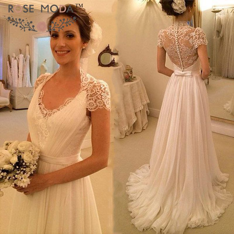 Vintage Lace Tea Length Beach Wedding Dress Short Sleeves: Short Lace Sleeves Deep V Neck Beach Wedding Dress