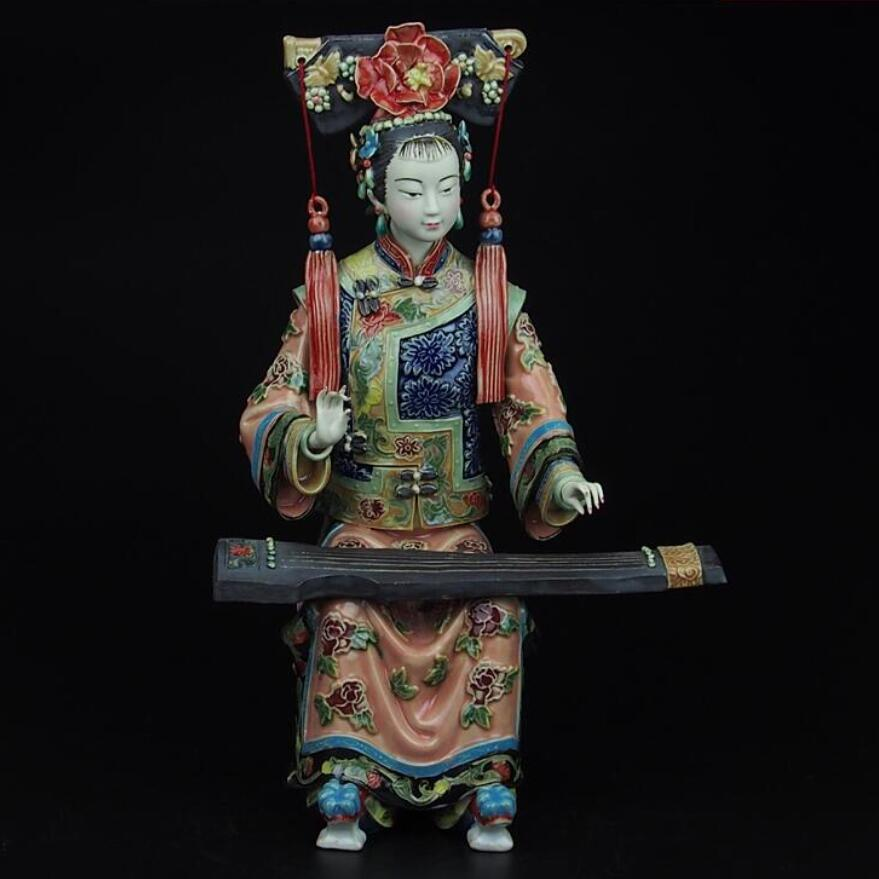 Best Christmas gift!! High:11.9 inch Collection Chinese handmade ceramic Statue/Palace Ladies about the Qing Dynasty Sculpture|gift collection|gift gifts|gift christmas - title=