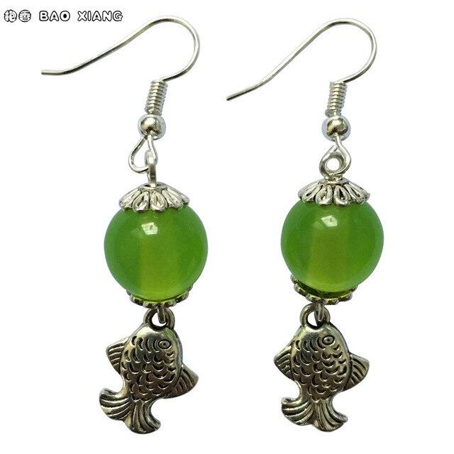 6275a9313c Pure Handmade Fashion Jewelry Tibetan Silver Fish Earrings White Green Cat s  Eye Beads Eardrop Dangler Women Accessories