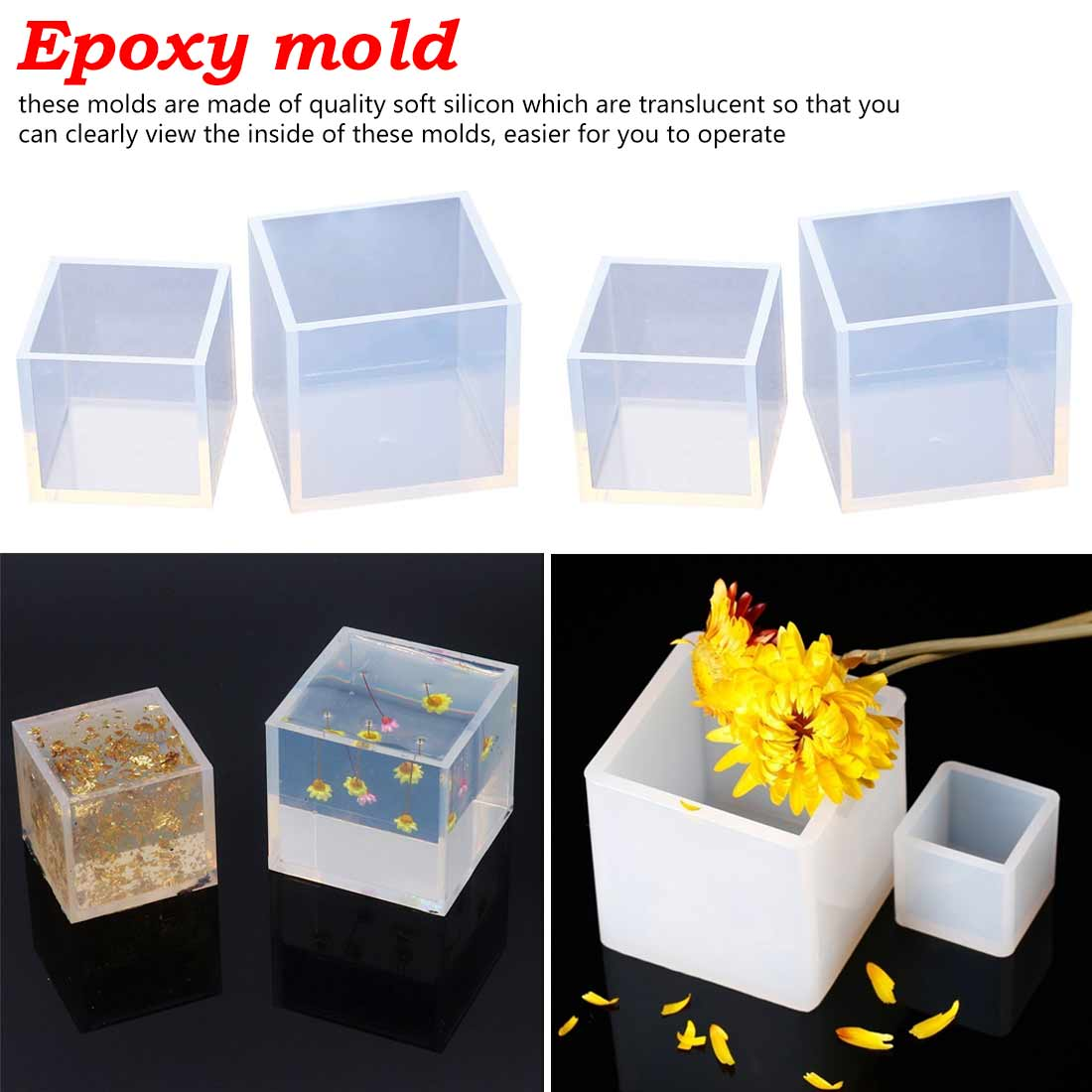 Resin Mold Cube Silicone Mold For DIY Craft For Polymer Clay Crafting Square Silicone Molds Resin Casting Molds