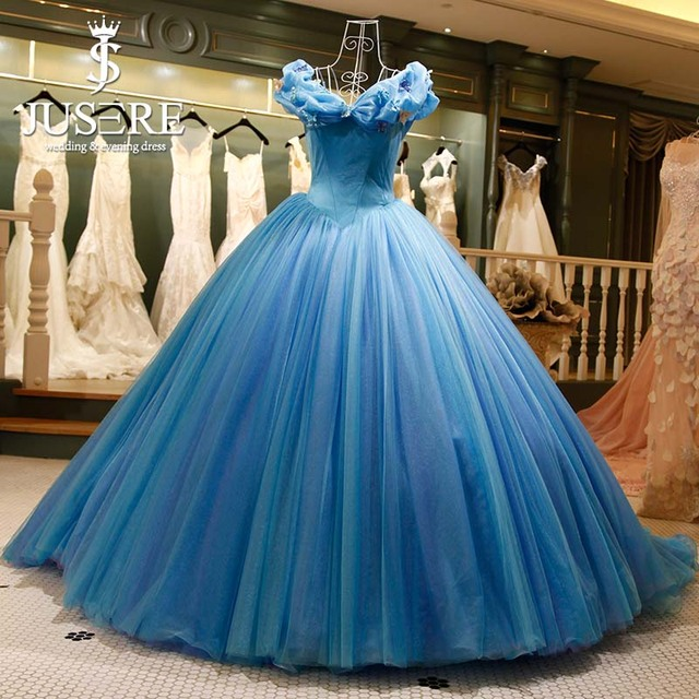 Jusere Cinderella Blue Ball Dresses Real Embroidery Puffy Floor ...