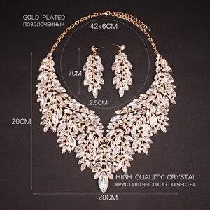Image 4 - Luxe Big Crystal Verklaring Ketting Oorbellen Dubai Sieraden Sets Indian Bridal Wedding Party Vrouwen Mode Kostuum Sieraden