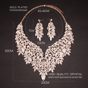 Image 4 - Luxury Big Crystal Statement Necklace Earrings Dubai Jewelry Sets Indian Bridal Wedding Party Womens Fashion Costume Jewellery