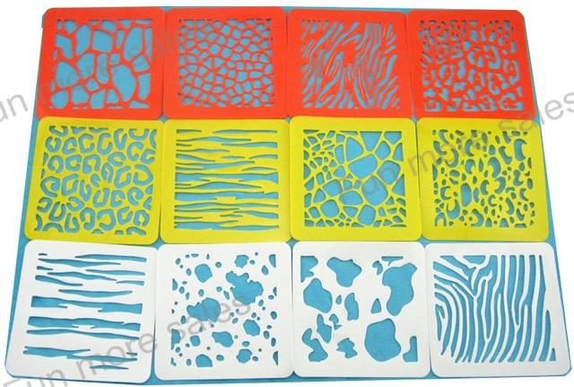 12 diseños / juego de la piel animal plantillas para niños pintura ...