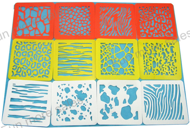 5bb5d1a6a 12 diseños/juego de plantillas de piel de animal para pintar plantillas de  dibujo de niños tablas de plástico juguetes calientes para bebés para ...