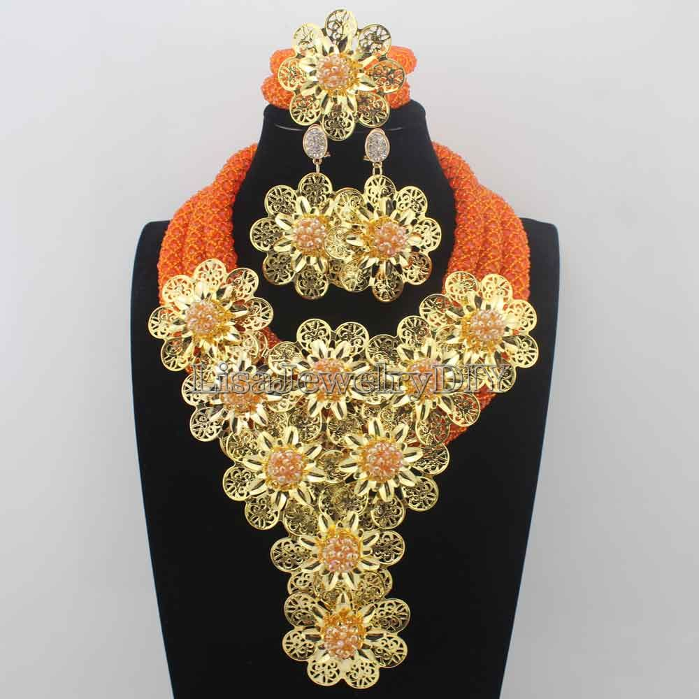 New Christmas Orange and earrings African Beads Jewelry Set Flowers Chunky Statement Necklace Set for Brides Free Ship HD8672 statement alloy crochet earrings and necklace