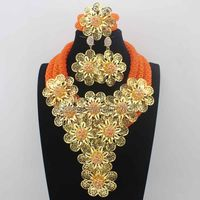New Christmas Orange and earrings African Beads Jewelry Set Flowers Chunky Statement Necklace Set for Brides Free Ship HD8672